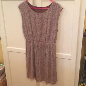 Zara Basics Sleeveless Dress Brown w/ Cream Dots L